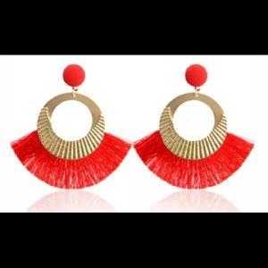 Jewelry - 👑Big Circle Gold/RED Tassel Dangle Earrings👑